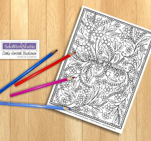 Flower Swirls Art Coloring Page, Floral Pattern Doodle PDF Download Printable by Cathy Horvath Buchanan