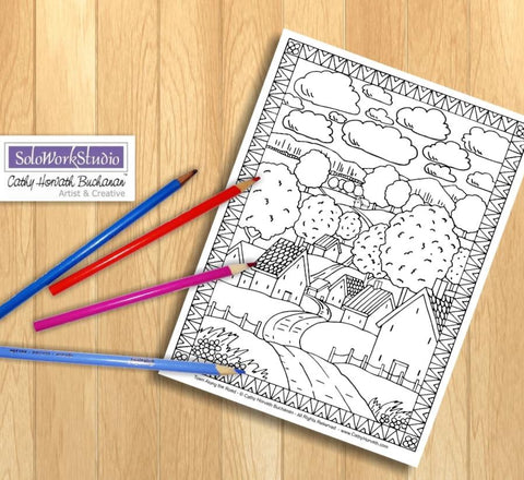 Village Road Scene, Coloring Page Printable PDF Download by Cathy Horvath Buchanan