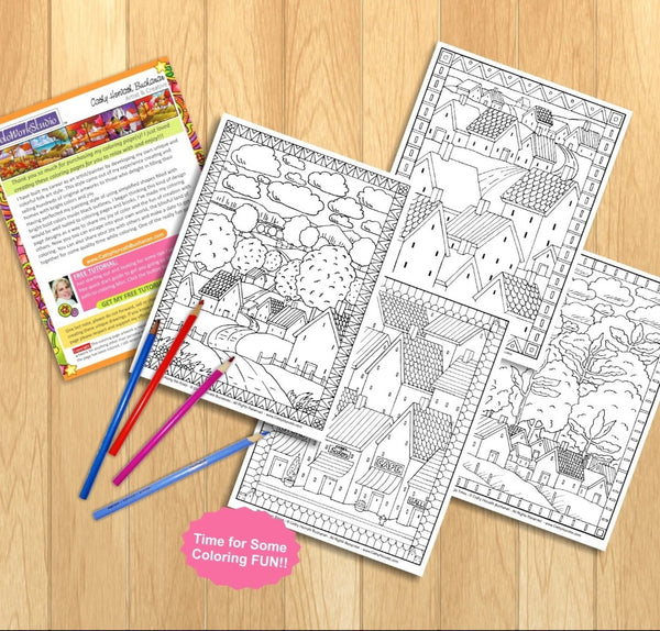 Folk Art Town Village Landscape Coloring Pages 4 Pack, PDF Download Printable by Cathy Horvath Buchanan