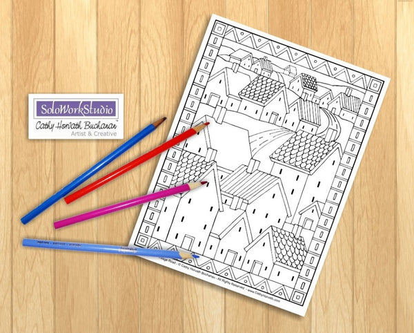 Folk Art Town Village Landscape Coloring Pages 4 Pack Printouts, Coloring Book, PDF Instant Download, Printable Digital Illustration Artwork