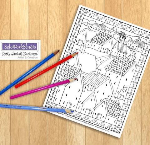 Village Road Houses Coloring Page, PDF Download Printable b Cathy Horvath Buchanan