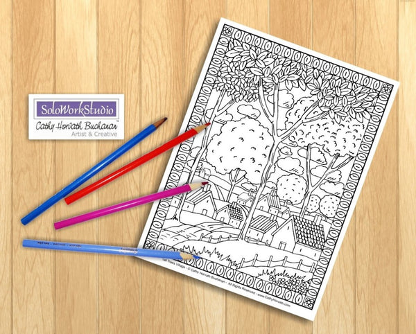 Folk Art Country Landscape Coloring Pages 4 Pack Printouts, Coloring Book, PDF Instant Download, Printable Digital File Illustration Artwork