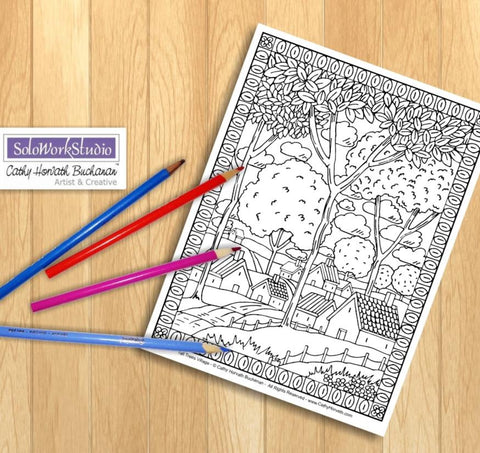 Village Trees Folk Art Landscape Scenery, Coloring Page Town Digital Illustration Artwork, Coloring Book Instant Download Printable to Color