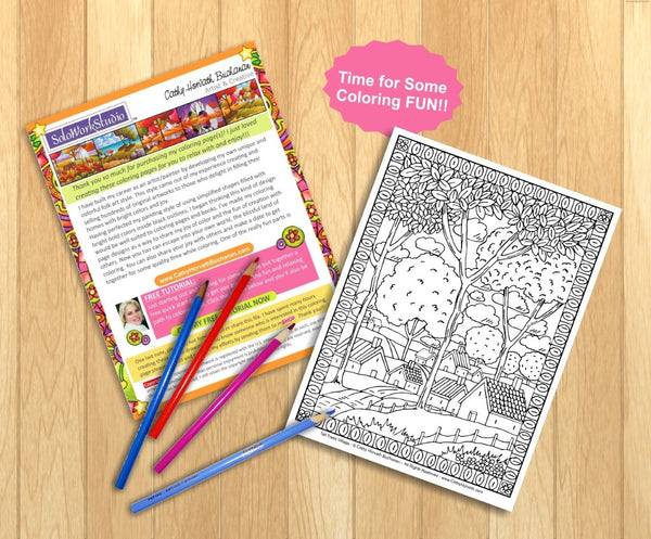 Village Trees Folk Art Landscape, Coloring Page PDF Download Printable