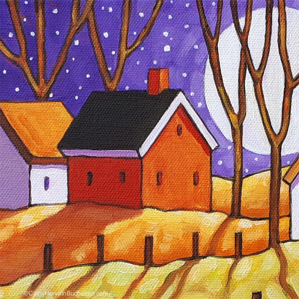 Purple Moon Original Painting, Night Shadows Folk Art Landscape 8x10