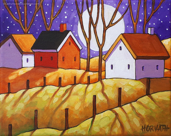 Cottage Hills Purple Moon Original Painting, Night Shadows Folk Art Landscape 8x10