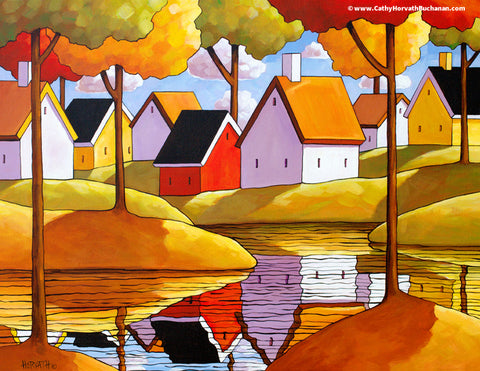 River Cottages Reflections, Folk Art Print Landscape Giclee