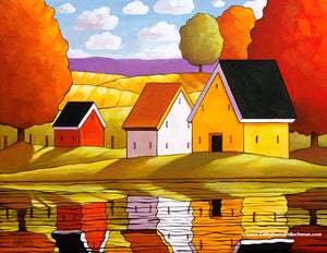 colorful rural water reflections autumn art by Cathy Horvath Buchanan