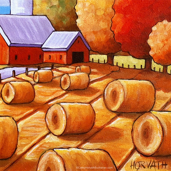 Country Hay Barns Framed Original Painting, Harvest Landscape 10x12