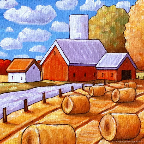 Hay Rolls Original Painting, Folk Art Farm Harvest Landscape 10x12