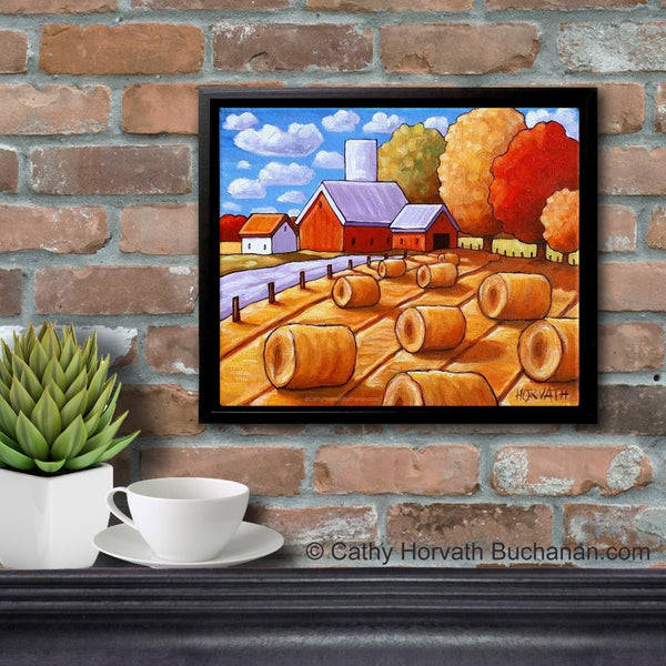 Hay Rolls Framed Original Painting, Folk Art Farm Harvest Landscape 10x12
