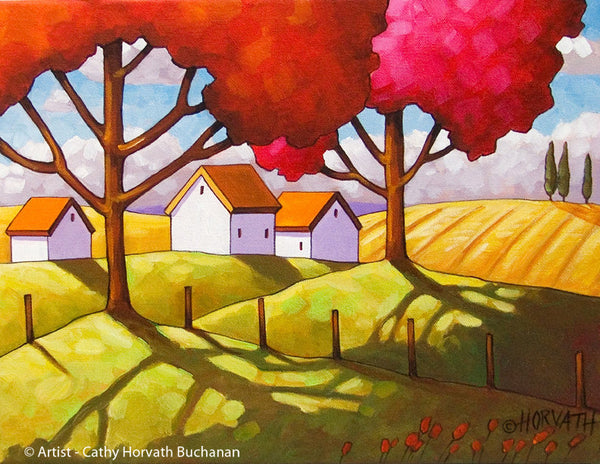Autumn Country Modern Farm House Wall Decor, Fall Folk Art Print Landscape