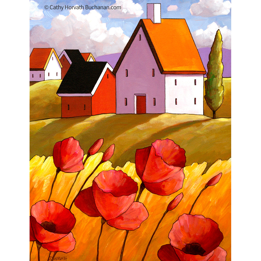 Countryside Poppies Scenery - Art Print