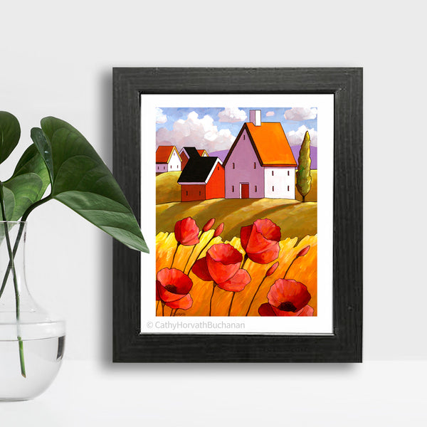 Countryside Poppies Scenery - Art Print setting