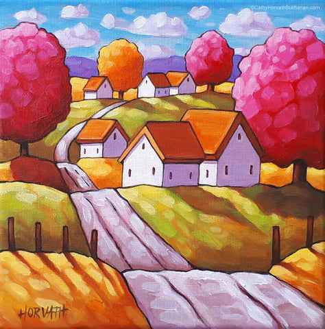 Country Road Original Painting, Colorful Scenic Folk Art Landscape 8x8