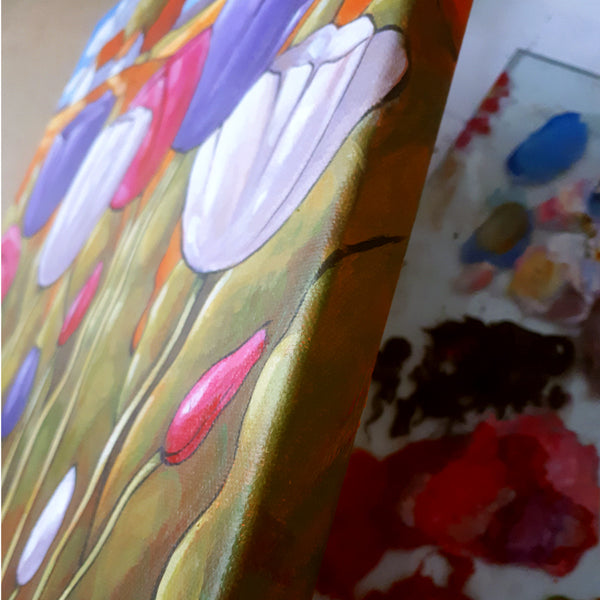 detail of spring tulips painting by artist cathy horvath buchanan