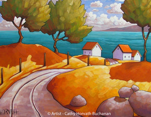Curving Road Oceanside Cottages Folk Art Print, Modern Summer Seascape