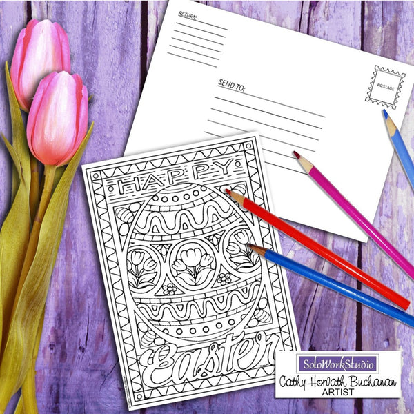 Fancy Easter Egg Coloring Kit, Card + Envelope - PDF Instant Download Printable