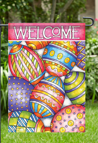 Painted Eggs Easter Garden Flag, Outdoor UV Resistant, Double-Sided by cathy horvath buchanan