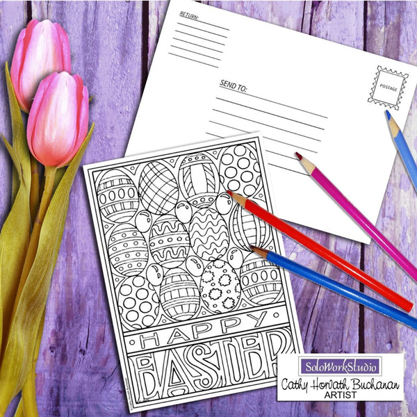 Happy Easter coloring card by artist Cathy Horvath Buchanan