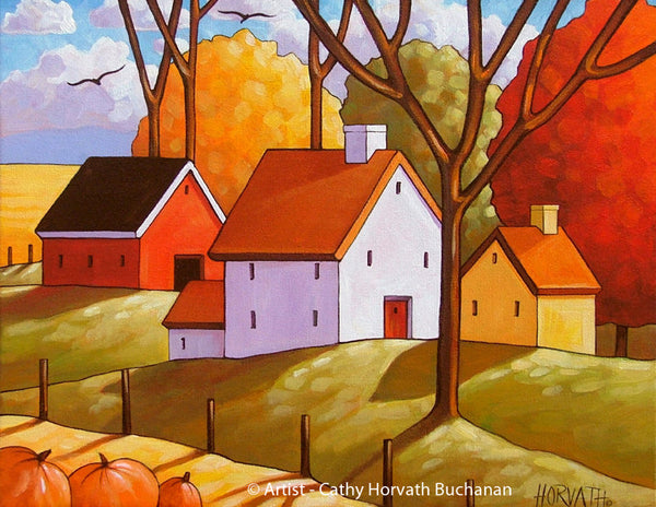 Halloween Pumpkins Fall Farm Art Print, Autumn Country Thanksgiving Folk Harvest