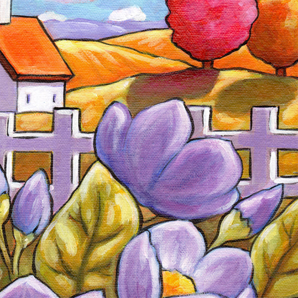 fenced country blooms painting detail 2 by cathy horvath buchanan