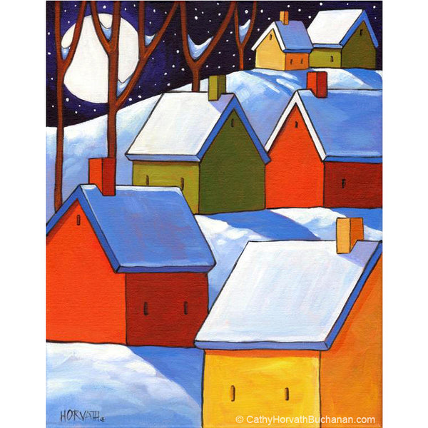 hillside winter night painting by cathy horvath buchanan