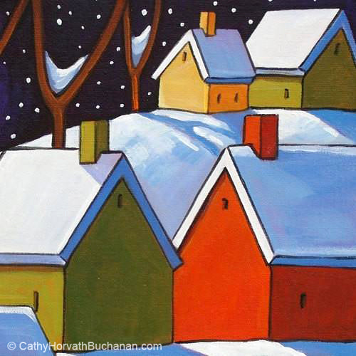hillside winter night painting detail 2 by cathy horvath buchanan
