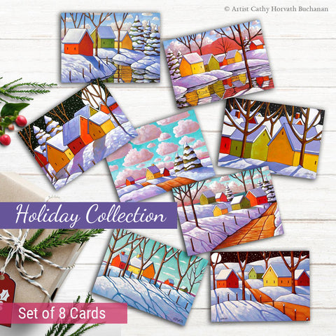 Holiday Art Cards, 5x7 Winter Snow Scenes Greeting Cards, Set of 8
