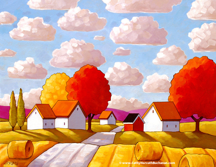 Hay Rolls Farmhouse Big Sky Clouds, Folk Art Print Giclee