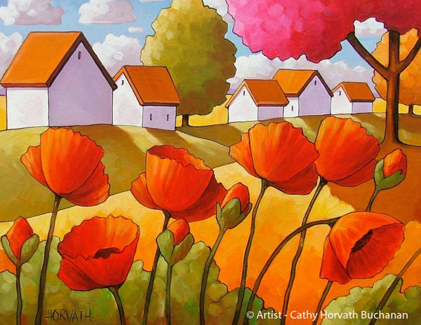 Red Poppy Landscape Art Print Home Decor, Modern Folk Art Flower Garden