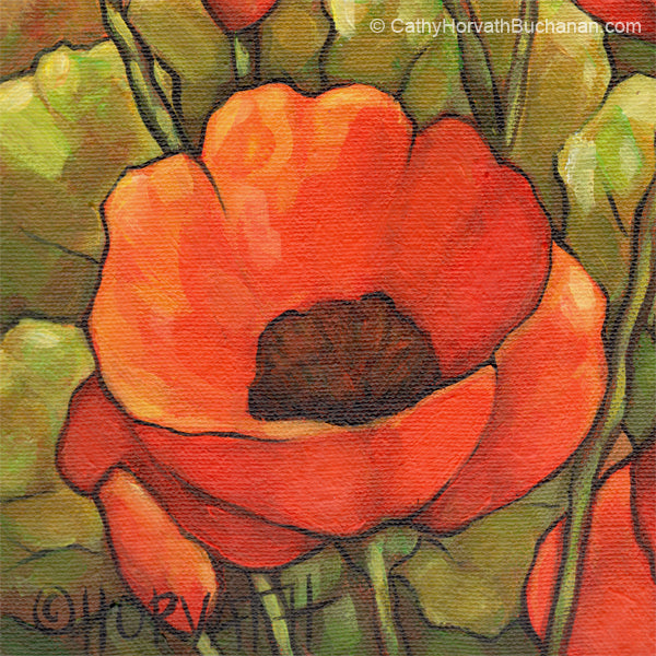 large red poppies landscape painting detail 1 by cathy horvath buchanan