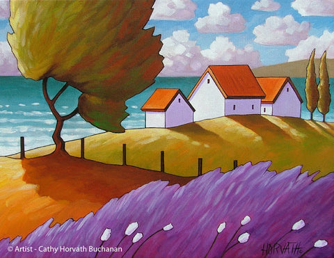 Ocean Lavender Coastal Trees Art Print, Sea Cottage Landscape