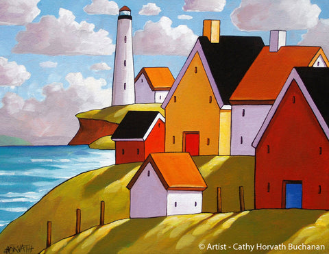 Lighthouse Coast Hillside Cottages, Folk Art Print Summer Seaside Giclee