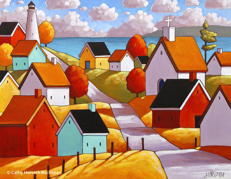 Lighthouse Coastal Town Folk Art Print, Ocean Village Giclee, Seaside Landscape