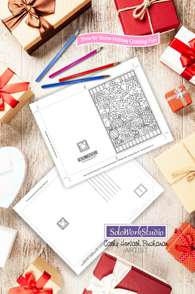 Merry Christmas Coloring Card Kit, Holiday Tree Card + Envelope, PDF Download Printable by Cathy Horvath Buchanan