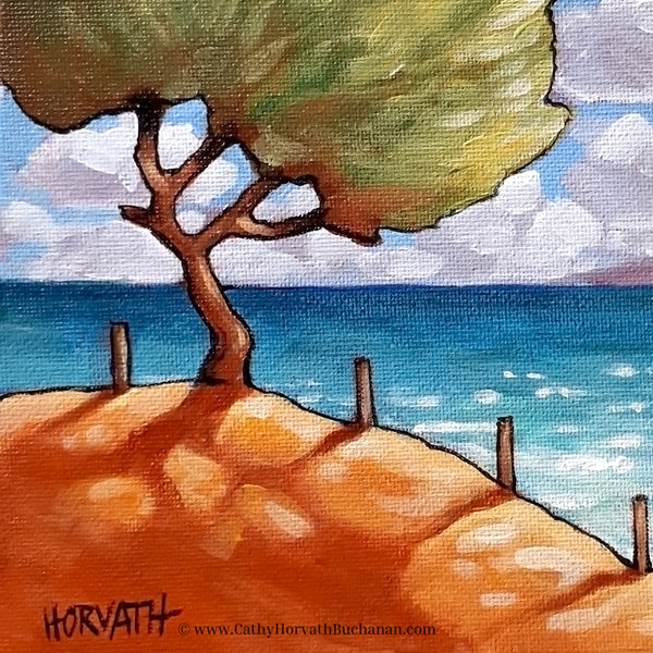 Beach Tree - Original Painting detail