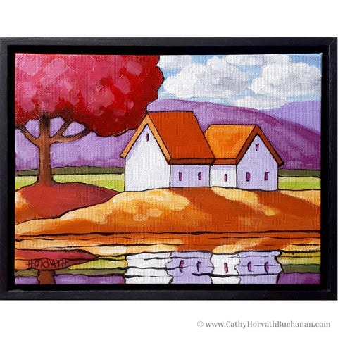 Pink Tree Waterside Cottages, Framed Original Painting, Mountain View 8x6