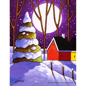 Moon Snow Purple - Art Print