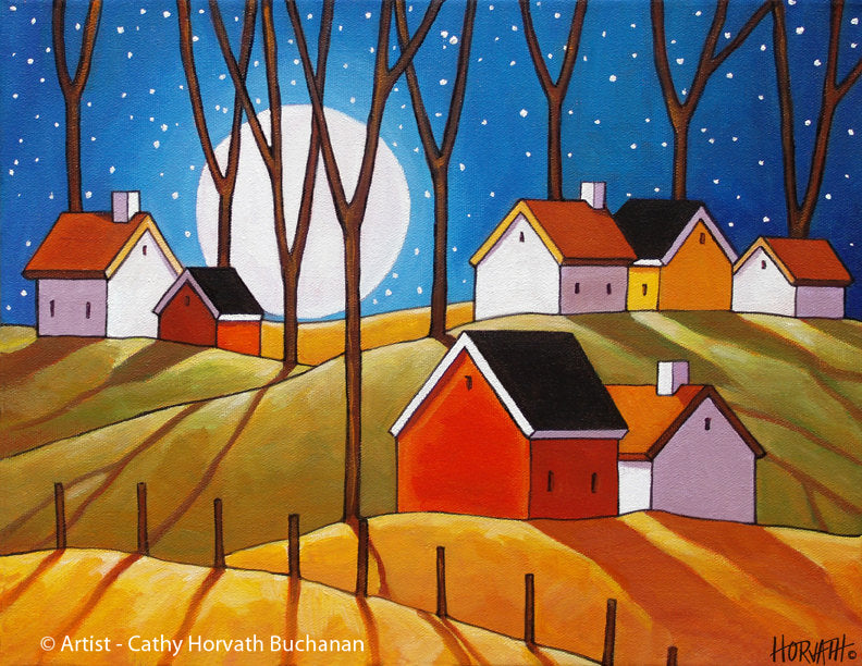 Moon Glow Cottages Autumn Night Folk Art Print, Cozy Fall Halloween Landscape Artwork