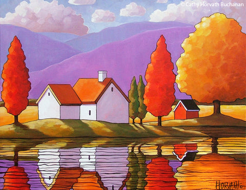Purple Mountain Autumn Cottages Folk Art Print, Fall Trees Landscape