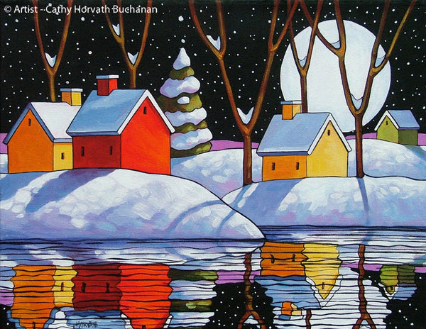 Christmas Night Moon Giclee, Snow Water Reflection Art Print Landscape