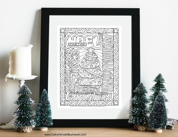 Christmas Holiday 8 Coloring Pages, PDF Instant Printable Download Designs