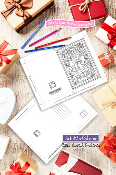 Noel Ornament Coloring Card Kit, Festive Christmas Bulb Card + Envelope, Adult Coloring PDF Instant Download, Illustration Printable Digital