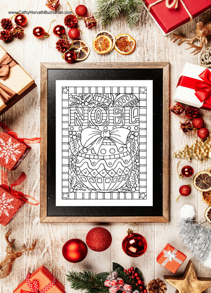 Noel Christmas Ornament Coloring Page Design, PDF Download Printable by Cathy Horvath Buchanan