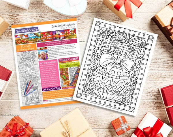 Noel Christmas Ornament Coloring Page Design, PDF Download Printable