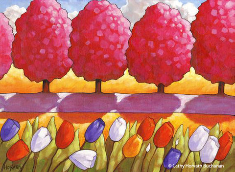 Pink Trees Tulips Garden Path, Spring Folk Art Print, Wall Decor Giclee