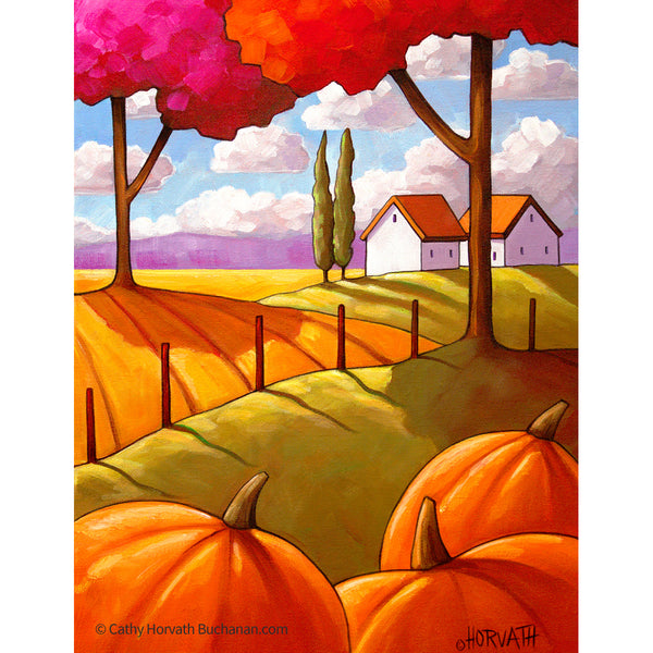 Pumpkin Landscape Trees - Art Print