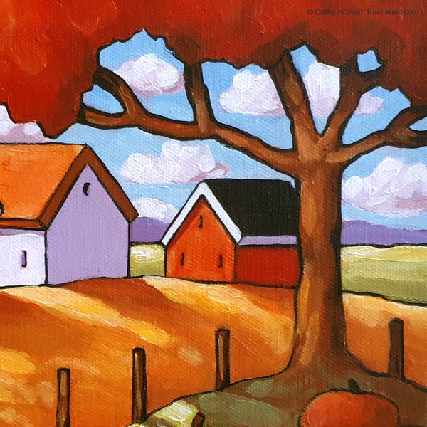 Pumpkin Tree Framed Original Painting, Fall Folk Art Farm Landscape, 8x10