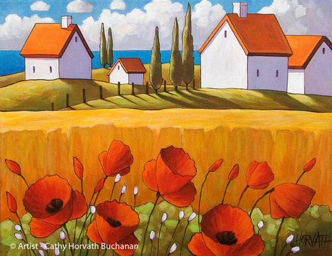 Red Poppies Farm Sea Art Print Home Decor, Wall Art Giclee